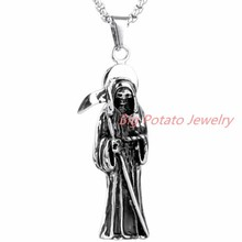 65mm*16mm 12g Hip-hop Holy Saint Death Santa Muerte Men's Silver Pendant Necklace Stainless Steel Punk Jewelry Free Chain 23.6""