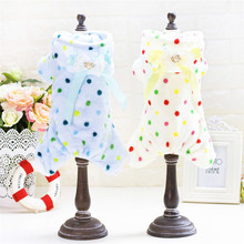 Newest Coral fleece dog jumpsuit for Dachshund Dot printing dog clothes winter dog pajamas pet products clothing supplies(China)