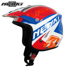 NENKI Men's Motocross Off-Road Open Face Helmet Blue Motorcycle Helmet Fashion Design Full Face Racing Helmets DOT Approved