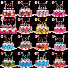 1 set child birthday flag banner +wrapper minnie mouse cake topper cake baking flags baby shower birthday party time banner
