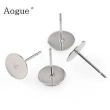 48-120 Pieces Stainless Steel Blank Post Earring Studs Pins Steel Color Flat Round Tray Base for Earring Jewelry Findings(China)