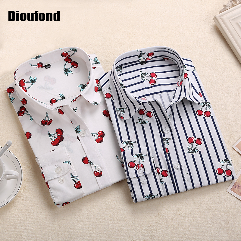 Dioufond New Floral Long Sleeve Vintage Blouse Cherry Turn Down Collar Shirt Blusas Feminino Ladies Blouses