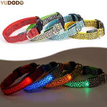 Adjustable Leopard LED Lights Glow Pets Collars,Nylon Pet Dog Cat Night Safety Luminous Flashing Necklace Pet Supplies S-XL(China)
