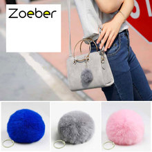 Zoeber New Rabbit Fur Ball Keychain Women Bag Pompom Keyring Key Ring Holder Rabbit Fur Pompoms Key Chains For Handbag Gift
