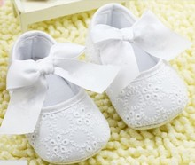 Newborn Baptism Shoes White Bowknot Baby Girl Lace Shoes Toddler Prewalker Anti-Slip Shoe Simple & Christening Baby Shoes(Chile)