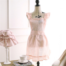 Women Kitchen Apron Lovely Princess Pink Aprons Thin Transparent Cosplay Maid Tablier Cuisine Pinafore