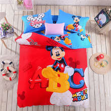 red blue mickey mouse print bedding set cotton fabric home textile duvet covers comforters Children's bedroom decoration 4-5 pcs