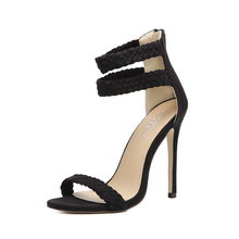 Women Gladiator Sandals Ankle Weave Band Zipper High Heels Sandals Concise Party Wedding Pumps Thin Heels Ladies Shoes 35-40
