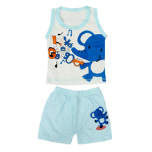 Kids Clothes Set,Girls Boys Undershirt Shorts-Elephant Blue,2T