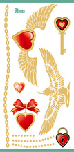 Water Transfer Flash Tattoo Golden Heart Angel Wings Design Gold Fake Tattoo Glitter Metallic Temporary Tattoo Stickers Taty