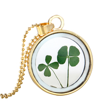 LASPERAL Lucky Four Leaf Clover Shamrock Real Flower Necklace Fashion DIY Pressed Dried Botanical Necklaces & Pendants For Women(China)
