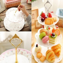 Urijk Three Layers Cake Plate Stand Holder Crown Metal Rod Fitting Hardware Rod Plate Holder Silver Exquisite afternoon Tea(China)