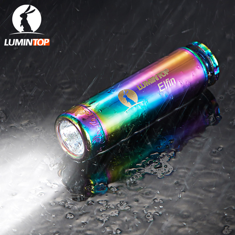 LUMINTOP Mini Flashlight  Elfin With Tritium Tube Cree XP-L V5 LED Stainless Steel Body Decorated With Gold-Plating <br>
