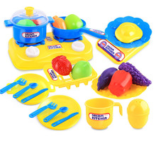 New Arrival Educational Toys for Children 26pcs Kids Children Plastic Kitchen Utensils Food Cooking Toy Sets Learning Tools Gift(China)
