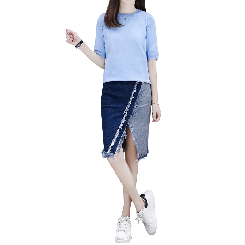 European fashion summer wear cowboy short skirt restoring retro knit top sweater & denim skirt 2 pcs clothing set vestido women