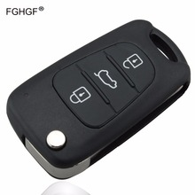 FGHGF Replacement 3Buttons Car Key Shell For Kia K2 K5 Flip Remote Key Case Blank Cover With LOGO