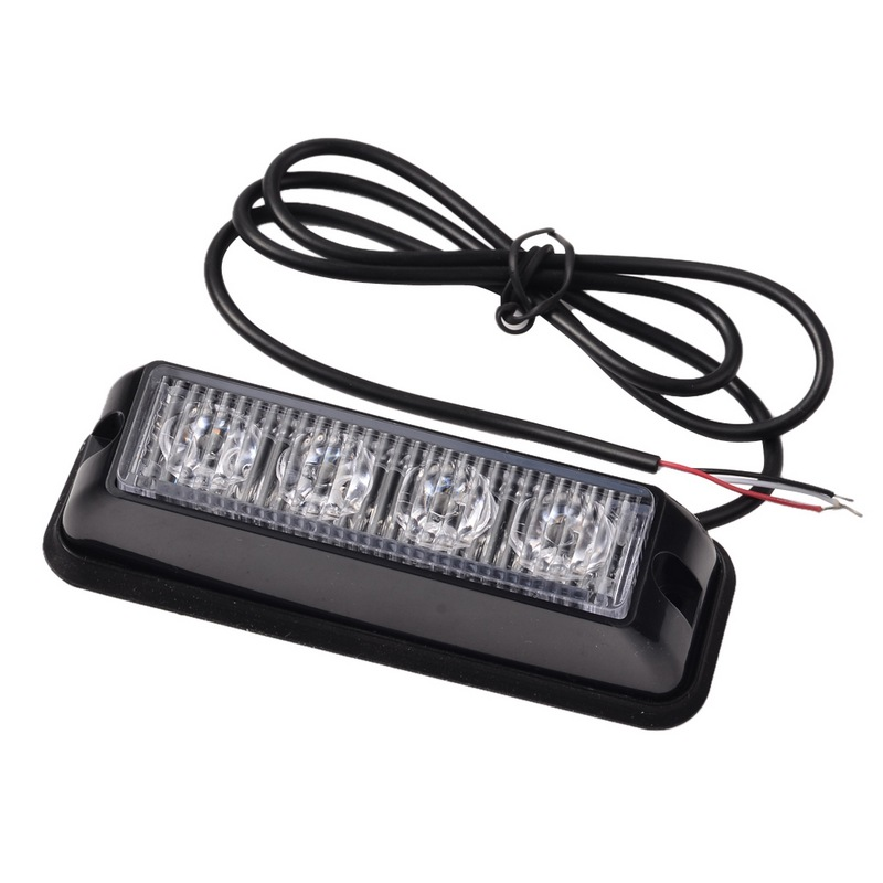 4 LED Colorful 4W Emergency Vehicle Side Marker Grille Flash Strobe Light Red (Flashing) Blue (long light) 13.7x3.6cm<br><br>Aliexpress