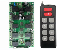 DC 12V 10A 10CH 10 channel RF Wireless Remote Control system 1 Receiver +1 Transmitter Individual learning code Doors/ lamp