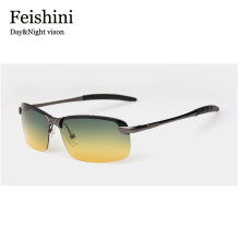 FEISHINI Night Multifunction Stainless Steel 2017 Glasses Sportt exercise UV COOL UV400 Sunglasses Men Polarized Night Vision