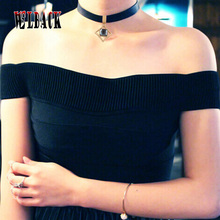 New Design Inspired Plain Gothic Black Leather Collar Crystal Alloy pendant Choker Necklace Gothic Handmade Charm Accessories Fo