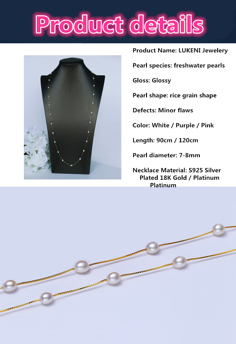 HTB1EUg3aHsTMeJjSsziq6AdwXXaw - Real 925 Sterling silver necklace Perfect natural pearl choker necklace 120cm long necklace for women Fashion jewelry