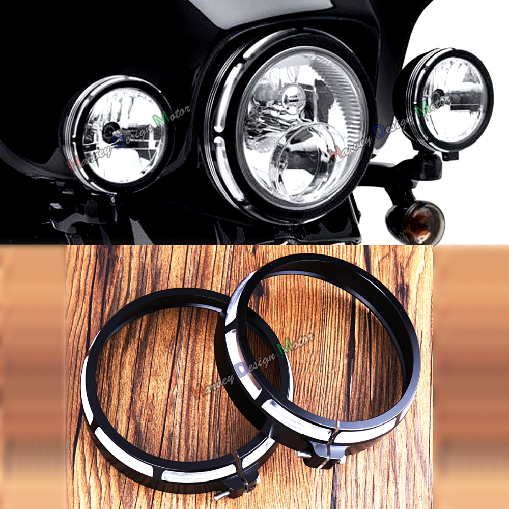 Burst Collection Trim Ring For 4 1/2 Auxiliary Lamps Harley Electra Glide Street Glide FLHX <br>