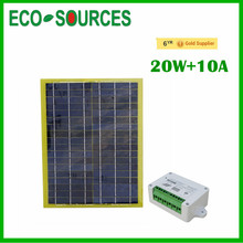 2015 New 12V 20 Watts Portable Car Power Solar Panel With 10A Controller Charger For RV SUV Truck Boat Marine(China)