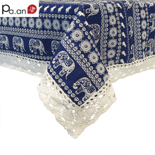 Classic Linen Table Cloth Lace Blue Elephant Printed Dust Proof Kitchen Table Covers for Fridge Microwave Christmas Tablecloths(China)