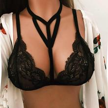 Buy 2017 Women Translucent Underwear Sheer Lace Bra Bandage Strap Lingerie Bra Top Bralette Brassiere Women Hollow Harness Crop Tops