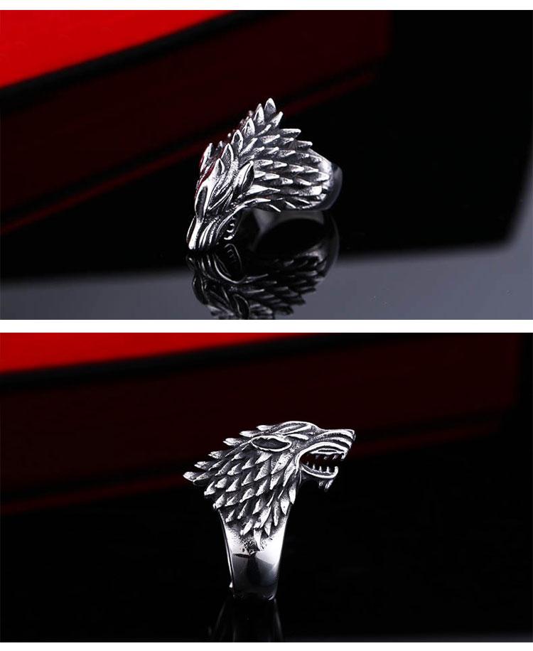 แหวนผู้ชายเท่ห์ๆ Code 042 แหวนหมาป่า สแตนเลส แกะลายคมๆสวยๆ11