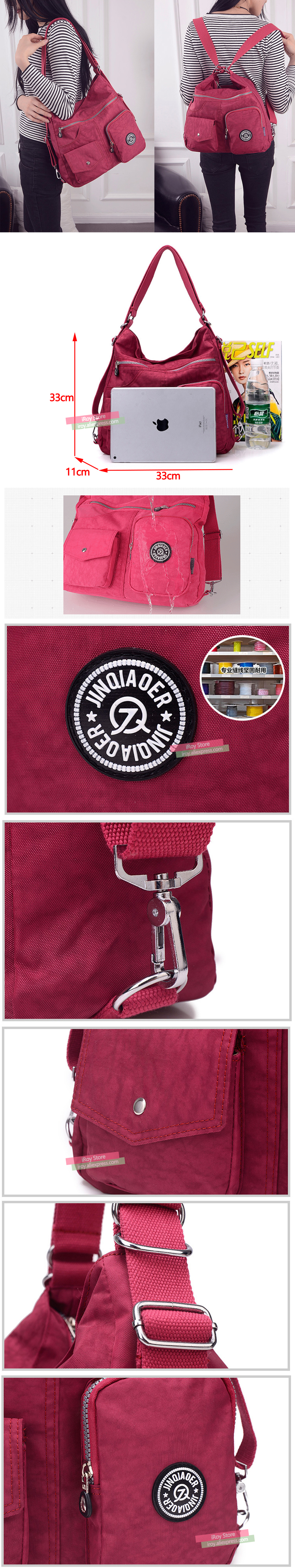 Versatile Carry Options! Fashion Women Waterproof Nylon Handbags for Ladies Hot Sale Shoulder Bags 11 Colors Hot Sale