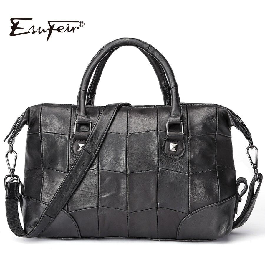 ESUFEIR Brand Genuine Leather Women Handbag Patchwork Sheepskin Leather Boston Women Bag Large Capacity Shoulder Bag Pillow Bag<br>