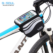 Bicycle Touch Screen Phone Bag MTB Road Bike Frame Mobile Bag Cycling Front Bags 5.7 inch Cellphone Bag Bicycle Accessories(China)