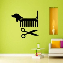 Creative Vinyl Wall Art Sticker Pet Shop Pet Grooming Salon Cat Dog Scissors Comb Wall Decals Decoration