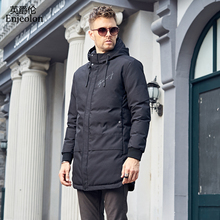 Enjeolon Brand Cotton Padded long Jacket hoodies coat Men Parka black printing coat Thick Quilted fashion Coat Men MF0298(China)