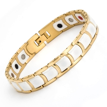 2016 New Style 316L Stainless Steel Ceramic Healing Magnetic FIR Ion Germanium 5 in 1 Energy Health Bracelet For Men Women Gold(China)