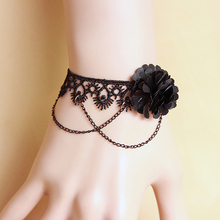 Punk Black Gothic Flower Lace Bangle Bracelet Cheap Wrist Jewelry For Females Gifts For Costume Lady Party Banquet Accessories