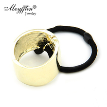 2017 Fashion Metal Circle Hair Cuff Band Tie Elestic Ponytail Holder Ring Hair Accessories Head Jewelry Hair Jewelry Silver/Gold