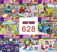 hao gao le 8pcs SY628 Monster School Girl Friends Mini dolls with motorcyle Building Block bricks Sets Educational DIY baby Toys(China)