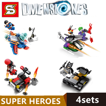 4pcs Dmensiones Hall of Armor SUPERMAN JOKER BATMAN Movie HARLEY QUINN SUPER HEREOS minifig Building Blocks Kids Toys Gifts(China)