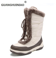 Winter outdoor snow knee-high boots female thickening waterproof boots women's shoes 2016 plus velvet cotton-padded shoes skiing