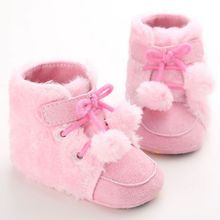 New Arrival Newborn babyGirls Boys Bowknot Fleece Snow Boots baby shoes Kids Princess Winter Warm Booties babybaby shoes LM58(China)