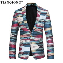 TIAN QIONG High Quality Men Print Blazer 2017 New Autumn&Winter Casual Blazer Jacket Men Fashion Single Breasted Dress Suit Men(China)