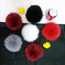 100% Real Fox Pompon Cap Fox Big Ball for Hats skullie Fox big Pumpon Fox Fur fluffy Pompom with Button