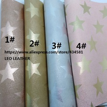 2 PCS A4 SIZE (21x29cm) Printed Stars on Pu Leather, Metallic Finishing Synthetic Leather for DIY Sewing 3S15B(China)