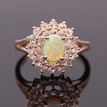 Beautiful Jewelry Round Yellow Fire Opal AAA CZ Ring For Women Wedding Party Ring(China)