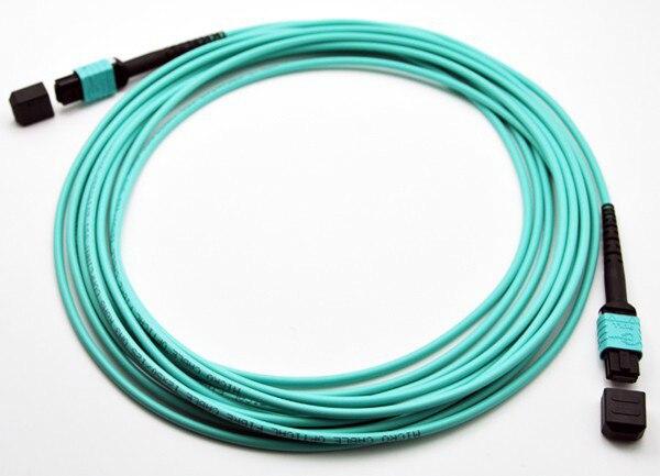 MPO Fiber Patch Cord, OM3 Multimode, Aqua Color / MPO Trunk Cable Female to Female, 1M to 10M<br>