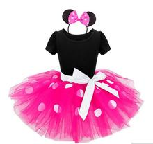 New Years kids dress minnie princess party costume infant clothing Polka dot baby clothes birthday girls tutu dress Head band