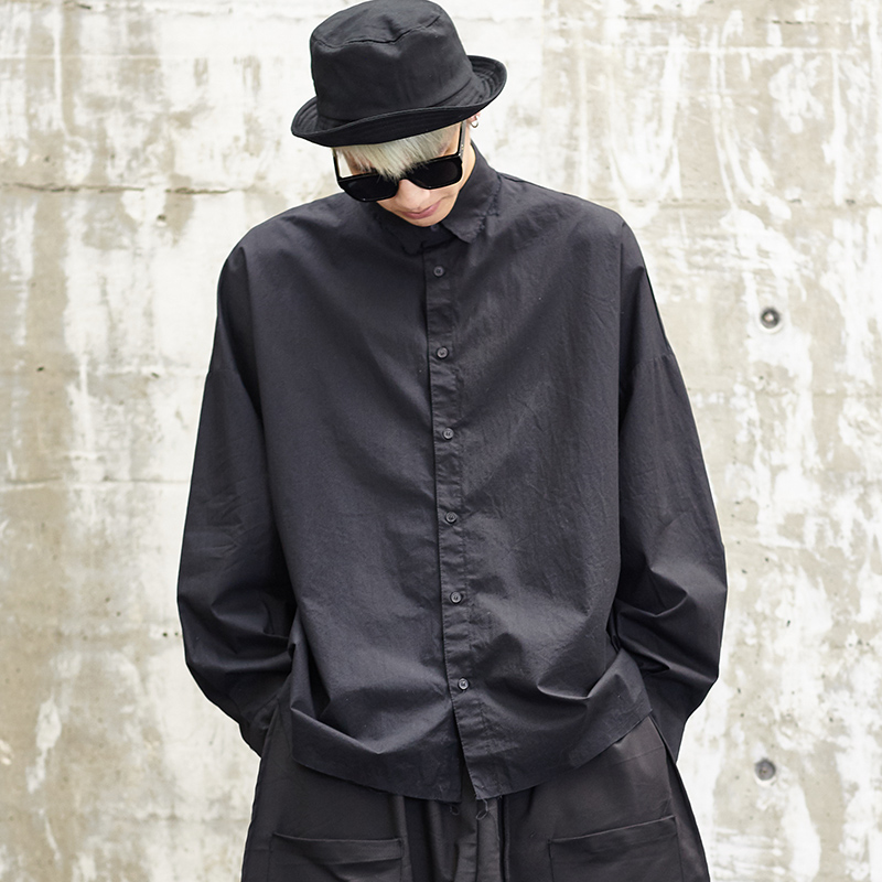 Men Japan Streetwear Fashion Punk Long Sleeve Loose Casual Shirts Oversize Male Hip Hop Dress Shirt Coat Stage Show Costumes