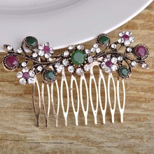 Newest Retro Wedding Hair Accessories Antique Gold Color Flower Crown Hairwear Hair Combs Exquisite Turkish Jewelry Hair Clips